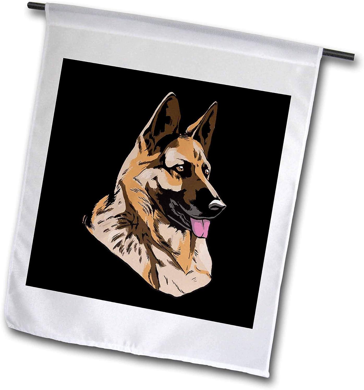 3dRose Sven Herkenrath Dogs - Illustration Art of Portait with German Shepherd Dog - 12 x 18 inch Garden Flag (fl_306973_1)
