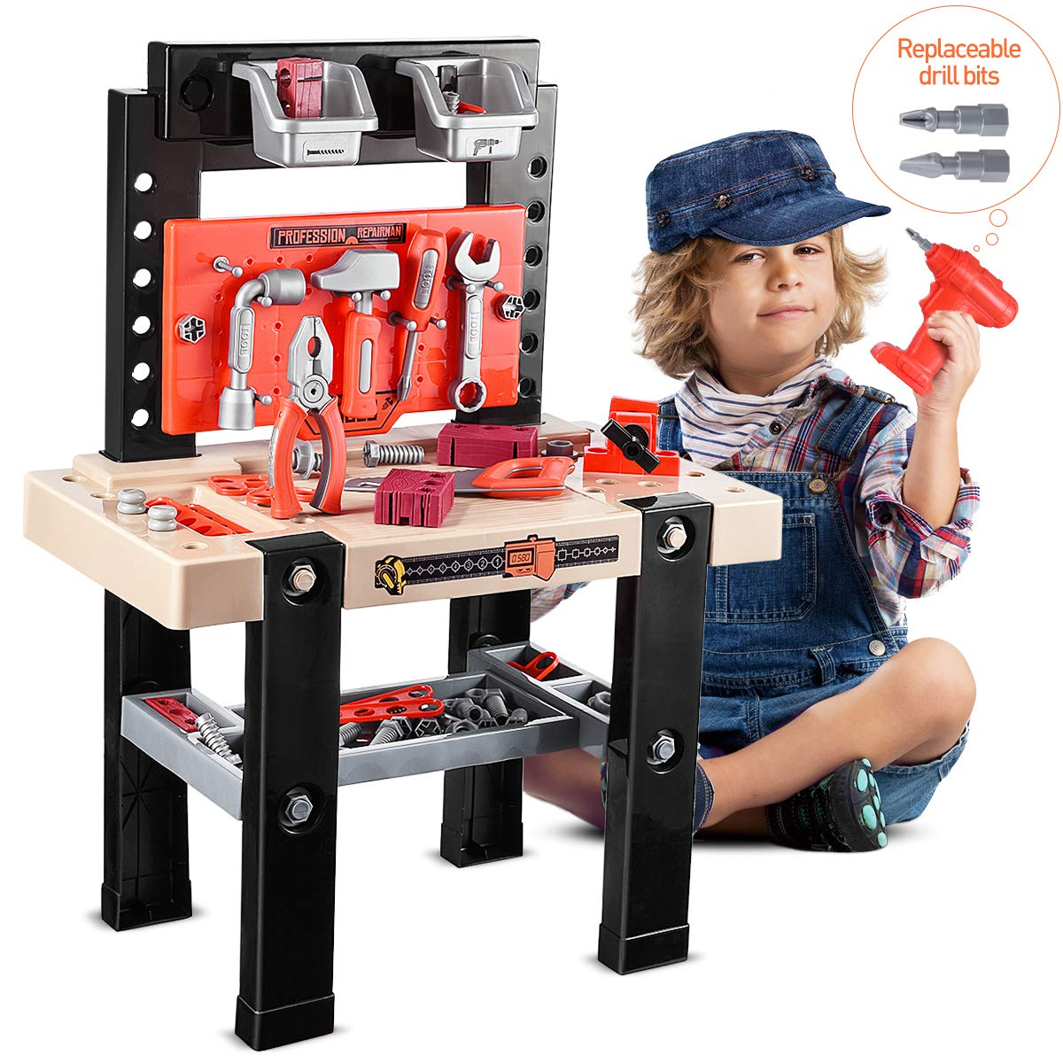 iBaseToy Toy Tool Bench, Kids Power Workbench, 91Piece Construction Toy Bench Set with Electric Drill, Educational Play & Pretend Play Workbench for Toddlers by iBaseToy (Image #7)