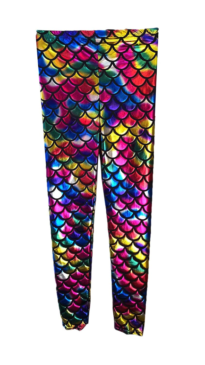 Crazy Chick® New Girl's Kids Mermaid Rainbow Fish Scale Holographic Slim Fit Shiny Disco Metallic Leggings Pants Age 5-13 Years