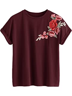 a18f867b32fda8 Romwe Women's Floral Embroidery Cuffed Short Sleeve Casual Tees T-Shirt Tops