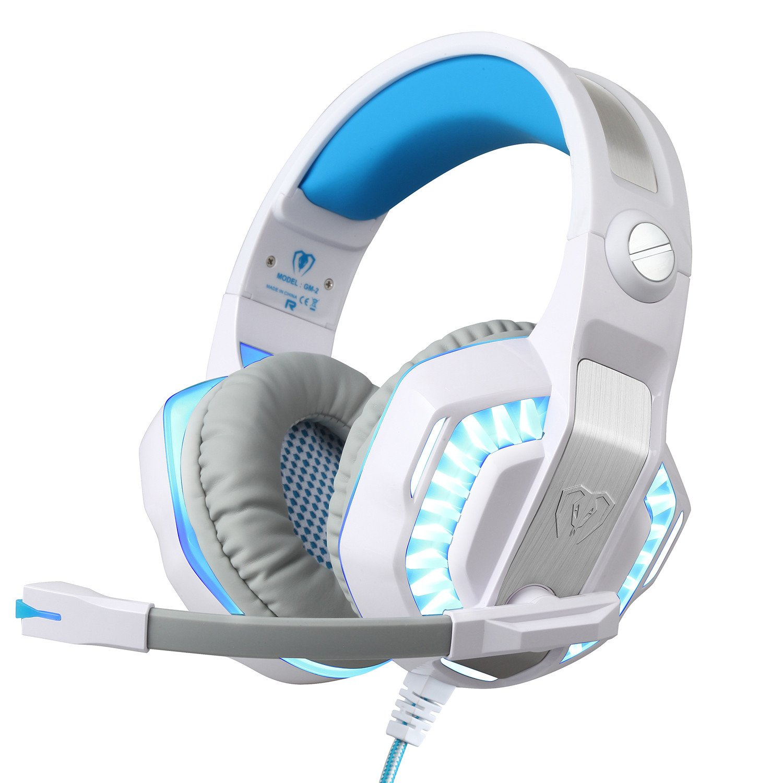 BlueFire Cuffie Gaming per PS4 / Xbox One/Xbox One S, Cuffie da Gioco con 3.5mm Jack LED e Microfono,Bass Stereo Audio Surround Cuffie da Gaming per iPhone/iPad/Android Phone/PC(Rosso)