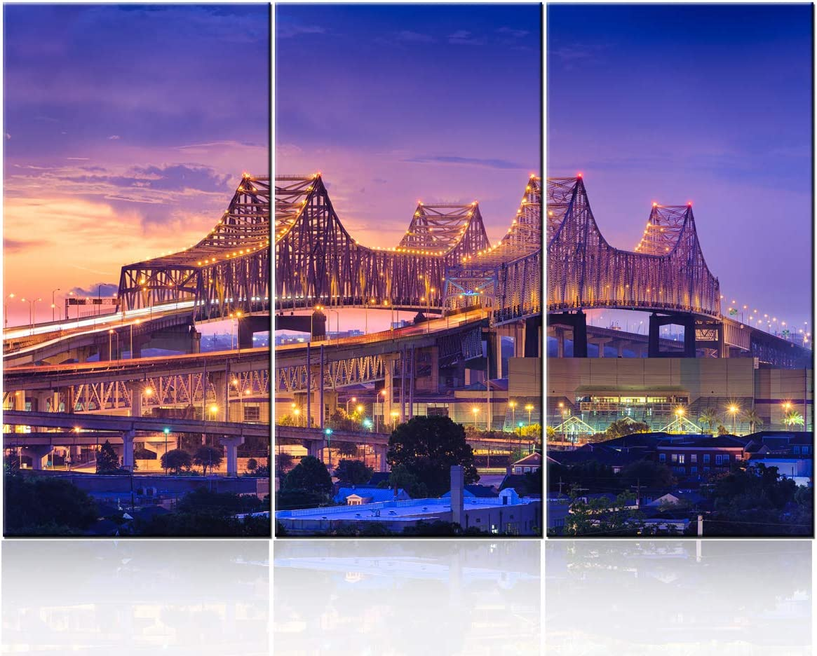 TUMOVO 3 Piece Canvas Wall Art City New Orleans Skyline at Sunset Wall Pictures for Living Room Modern Louisiana Cityscape Art Wall Decor Stretched and Framed Ready to Hang - 28'' x 14'' x 3 Panels