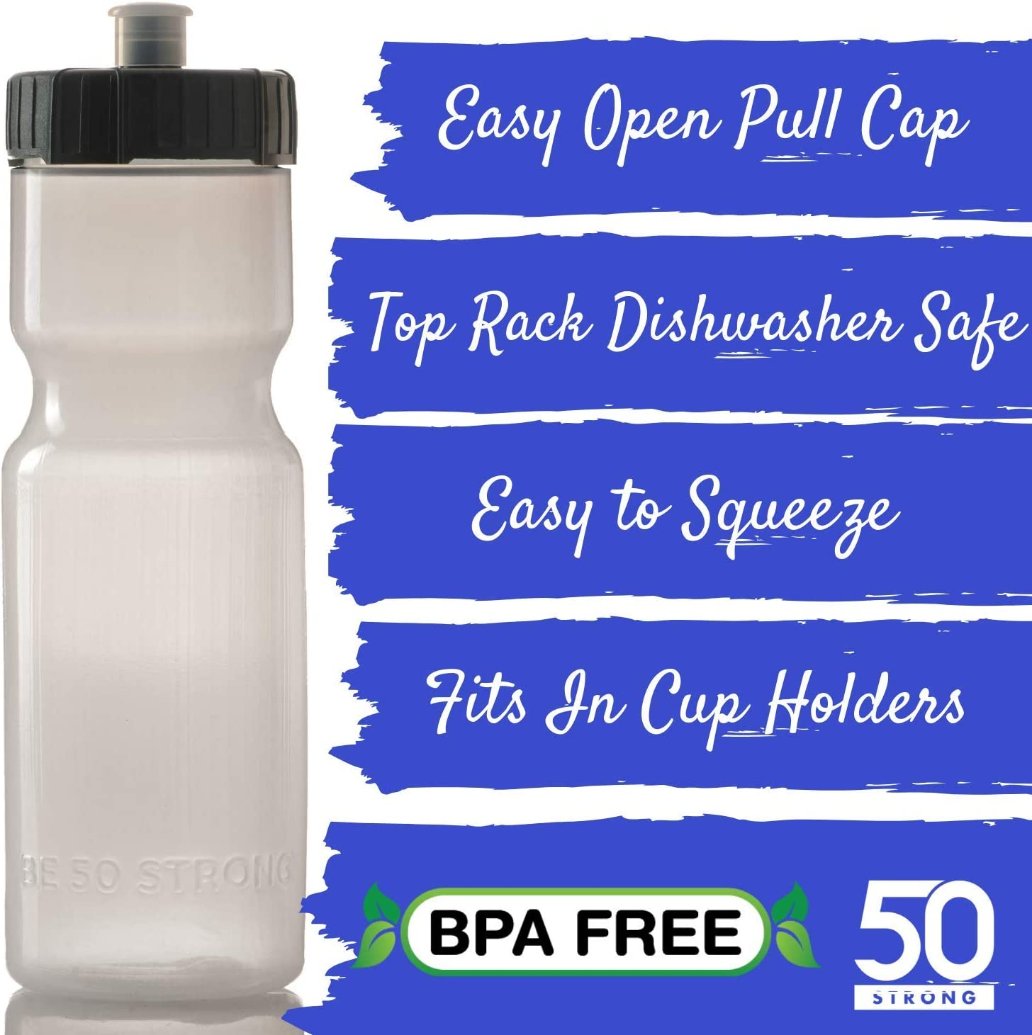 50 Strong Sports Squeeze Water Bottle 2 Pack Top Rack Dishwasher Safe USA Made Great for Adults /& Kids BPA Free Easy Open Push//Pull Cap 22 oz Bottles Fit in Bike Cages