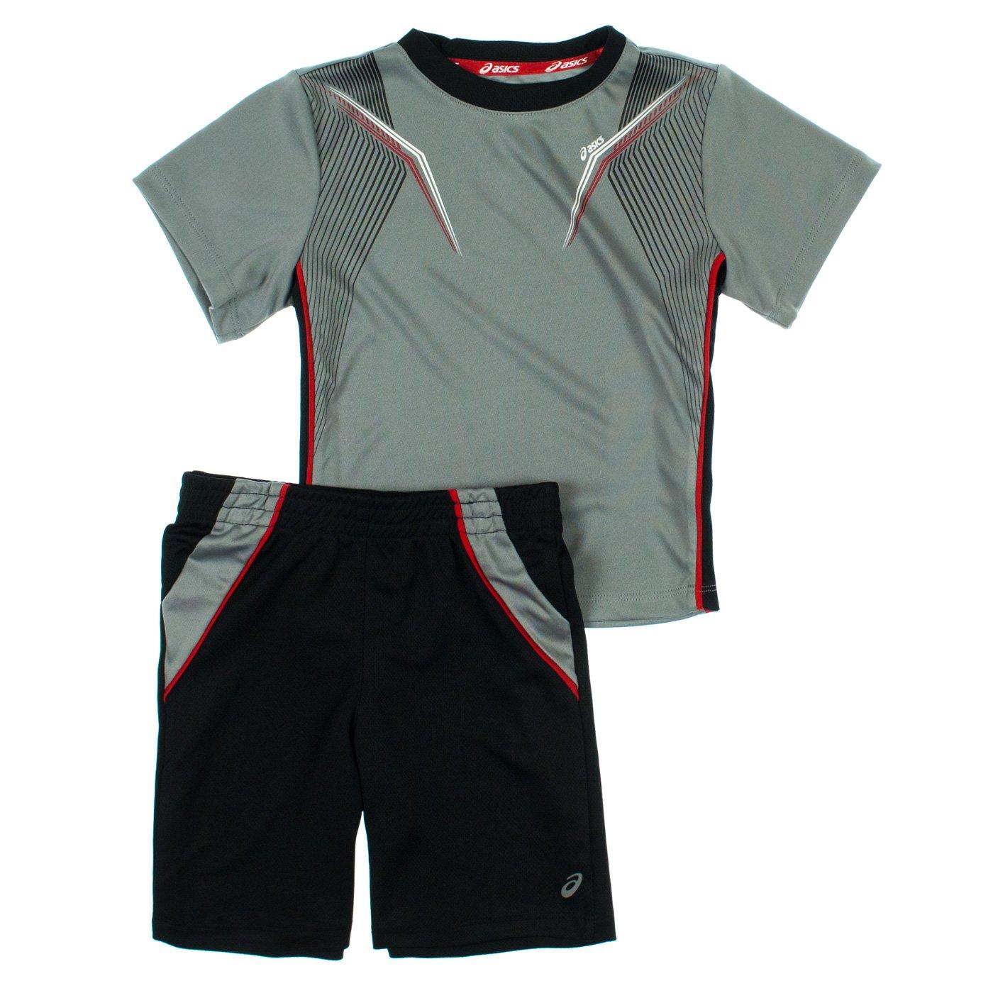 Asics Boys 2-7 2-Piece Athletic Top /& Shorts Set 2T Monument Gray