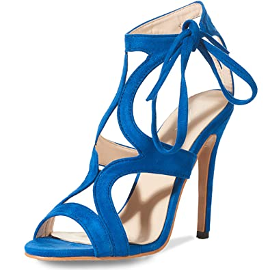 JSUN7 Women s Lace-up Stiletto High Heel Sandals Basic Office Summer Dress  Shoes Open Toe 83509120b830