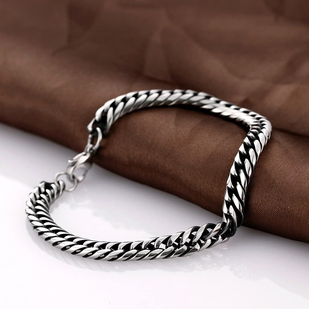 YAZILIND Jewelry Gothic Vintage Titanium Steel Fashion Curb Link Chain Bracelet for Men