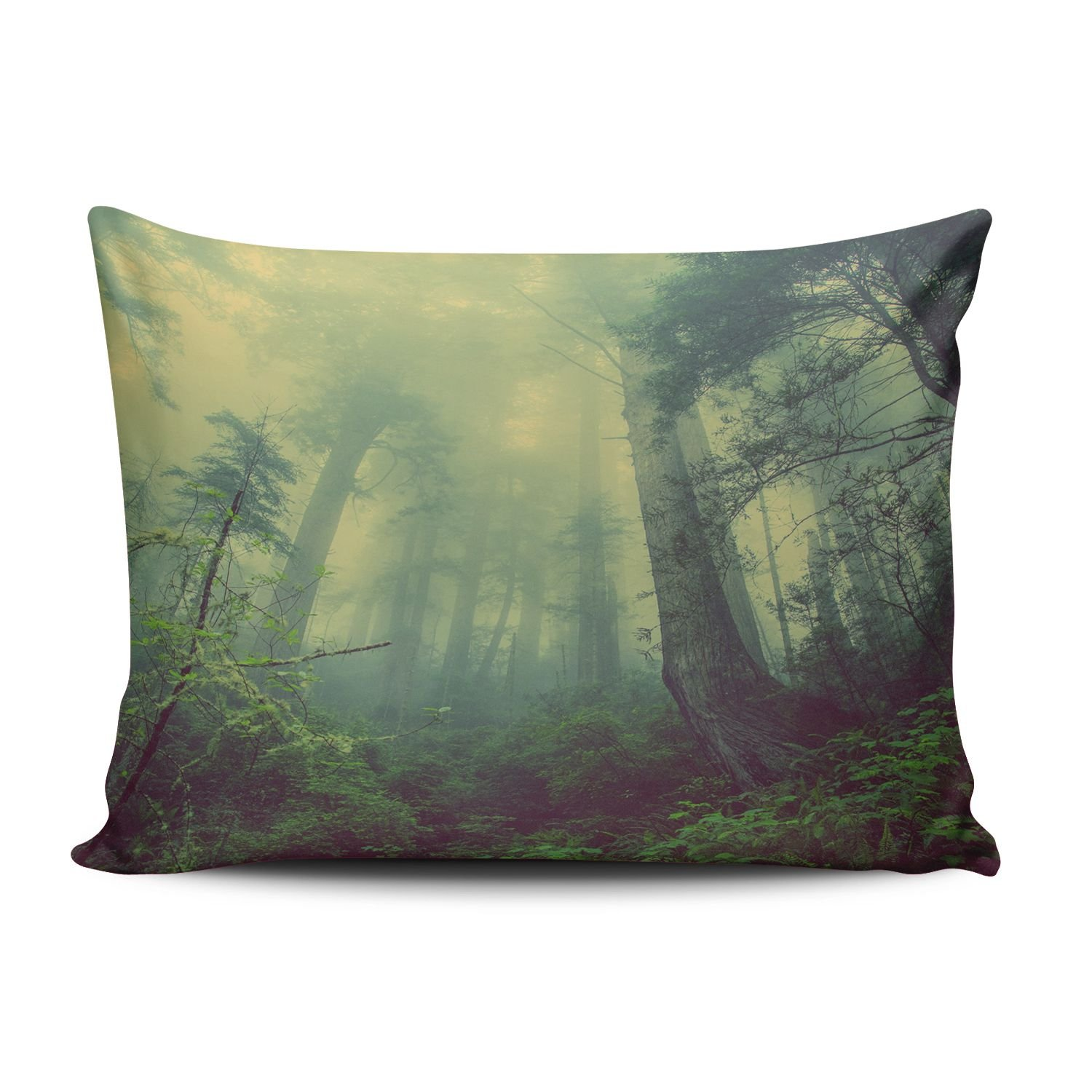 KEIBIKE Personalized Christmas Gift Forest Wood Fog Nature Green Rectangle Decorative Pillowcases Unique Zippered Standard Pillow Covers Cases 20x26 Inches One Sided