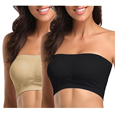 a4a6637ed1d MissTalk Womens Padded Bandeau Bra Strapless Bra Tube Bra Active Base Layer  Tube Top (Black