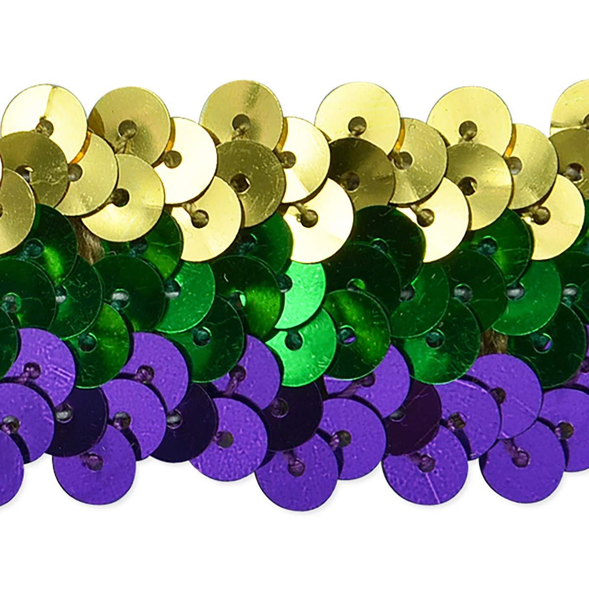 3 Row 1 1/4in Metallic Mardis Gras Stretch Sequin Trim Multi Colors (Precut 20 Yard) by Expo International Inc.