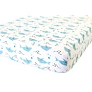 100% Organic Cotton Fitted Crib Sheet by ADDISON BELLE - Premium Baby Bedding - Soft, Breathable & Durable (Shark)