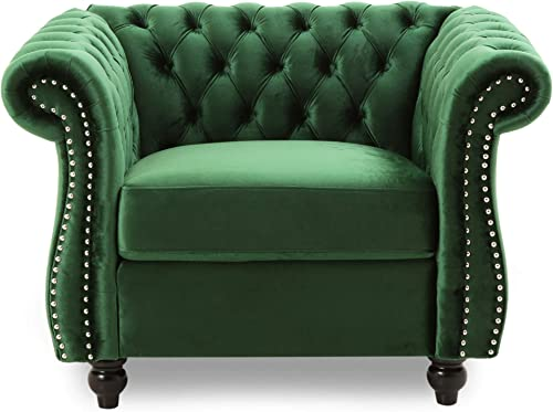 Leila Chesterfield Velvet Club Chair, Emerald