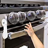 Stove Knob Covers for Child Safety (5 + 1 Pack) Double-Key Design and Upgraded Universal Size Gas Knob Covers Clear View Chil
