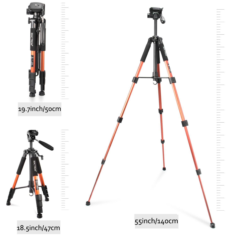 Camera Tripod Lightweight Portable Travel Tripod Aluminum Camcorder Stand MACTREM 55-Inch with Bag for DSLR Nikon Canon Sony Olympus Fuji Pentax Lumix DV Video (Orange)
