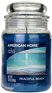 Yankee Candle 241407 Scented Fragrance Candles American Home Colllection Luxury Classic Large 19oz Glass Jar 538g[Peaceful Beach], Youth 11-13, Blue