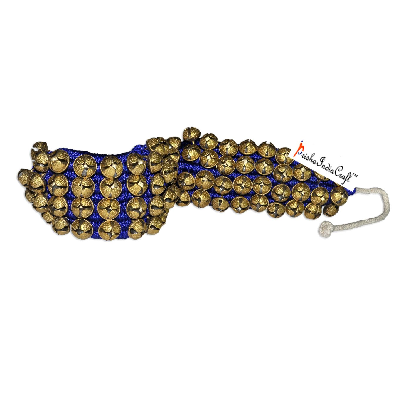 Prisha India Craft ® Kathak Four Line Big Bells (16 No. Ghungroo) Best quality Good Quality Ghungroo Blue Pad Indian Classical Dancers Anklet Musical Instrument