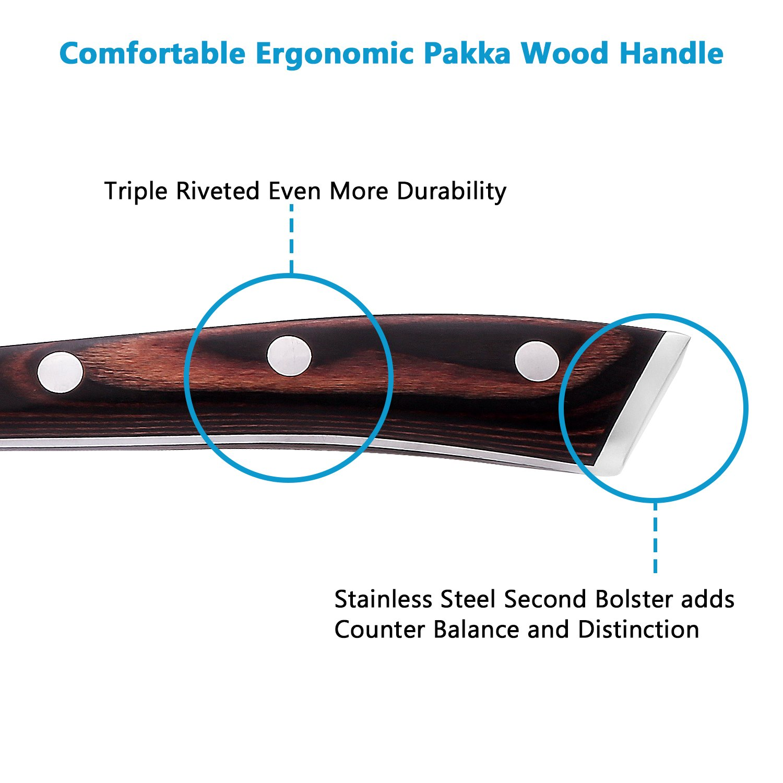 Chef Knife, Poshei 8 inch Multi-purpose High Carbon Stainless Steel Kitchen Knife with Razor Sharp Blade and Balanced Ergonomic Pakka Wood Handle with Gift Box by poshei (Image #3)