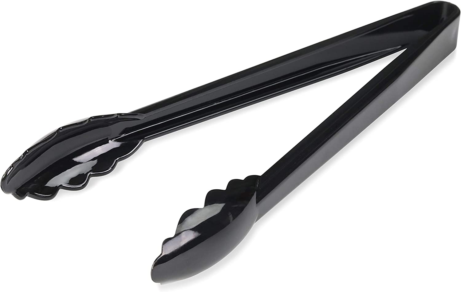 New Star Foodservice 35513 Utility Tong, High Heat Plastic, Scalloped, 12 inch, Set of 12, Black