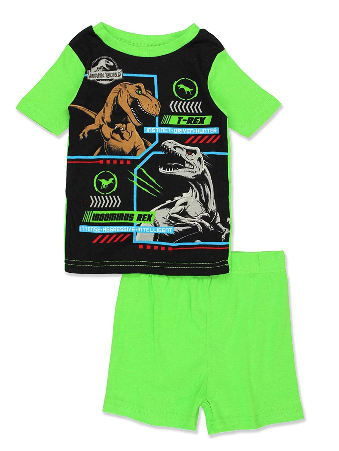 Jurassic World Dinosaur Boys 2fer 4 Piece Short Sleeve Tee Shorts Cotton Pajamas Set