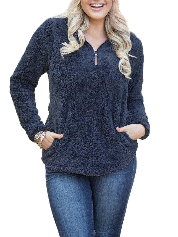 Dongpai Womens Long Sleeve 1//4 Zip Pockets Sherpa Pullover Fleece Sweatshirt Warm Coat Outwear