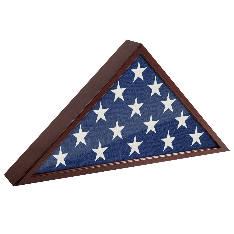 Americanflat Flag Case Frame - Display Case - Fits 5x9.5' Flag - Mahogany Finish - Memorial Veteran Flag Display Case
