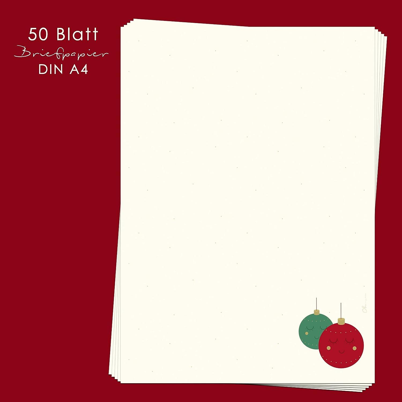 Motiv-Briefpapier GOLDENE WEIHNACHTSKUGELN DIN A4 Format 20 Blatt