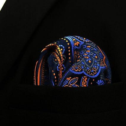 SHLAX&WING Cachemir Naranja Azul Negro Seide Einstecktücher ...