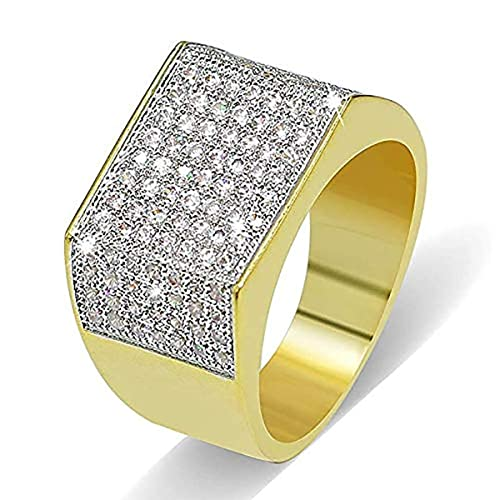 Zilver 14k Gold Cluster Cz Iced Out Pinky Ring For Men 14k Gold