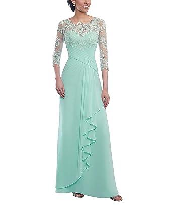3b767842606df0 CJMY Women's Sheath Floor Length Mother of The Bride Dress High Neck 3/4  Sleeves