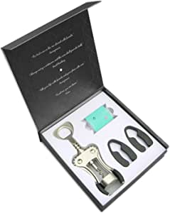 Wine Gift Set Luxury Corkscrew Wine Opener, Foil Cutters & 2 Swarovski Crystal Magnetic Wine Glass Charms - Impressive Hostess or Housewarming Gift for Wine Lovers