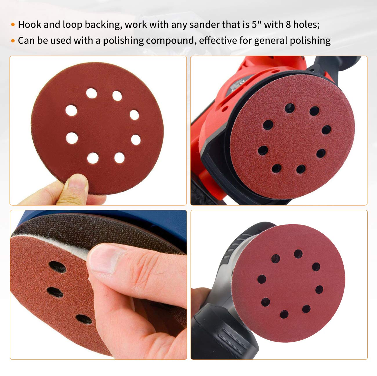 Dyna-Living 30 PCS 9-Inch NO-Hole PSA Aluminum Oxide Sanding Disc 5 Each of 80 100 120 180 240 400 Self Stick