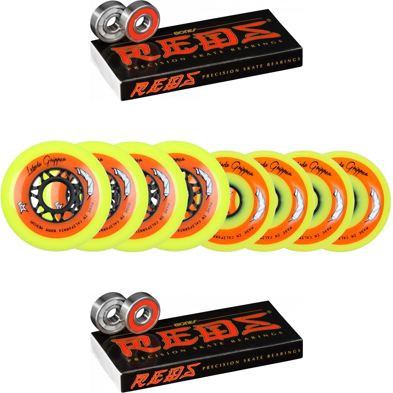 Labeda Wheels 80mm /76mm Hilo Gripper Yellow Med Inline Hockey 83A Bones Reds