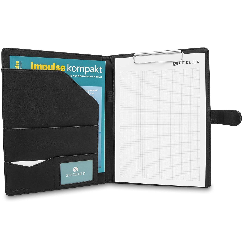 Block und Carbon Kugelschreiber d/ünne und leichte Businessmappe mit Zubeh/ör SEIDELER Premium Schreibmappe A4 mit Klemmbrett inkl
