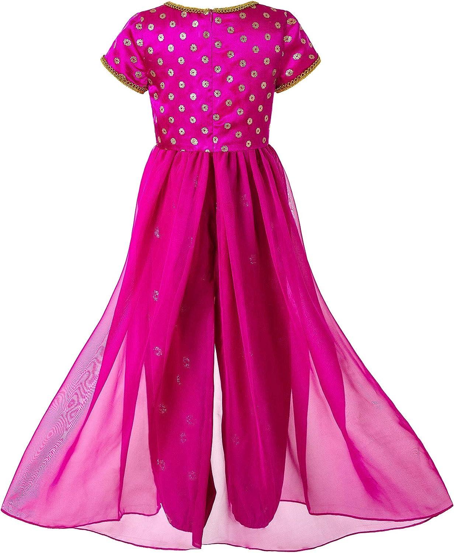 Pettigirl Ragazze Costume da Principessa Rosa per Bambine