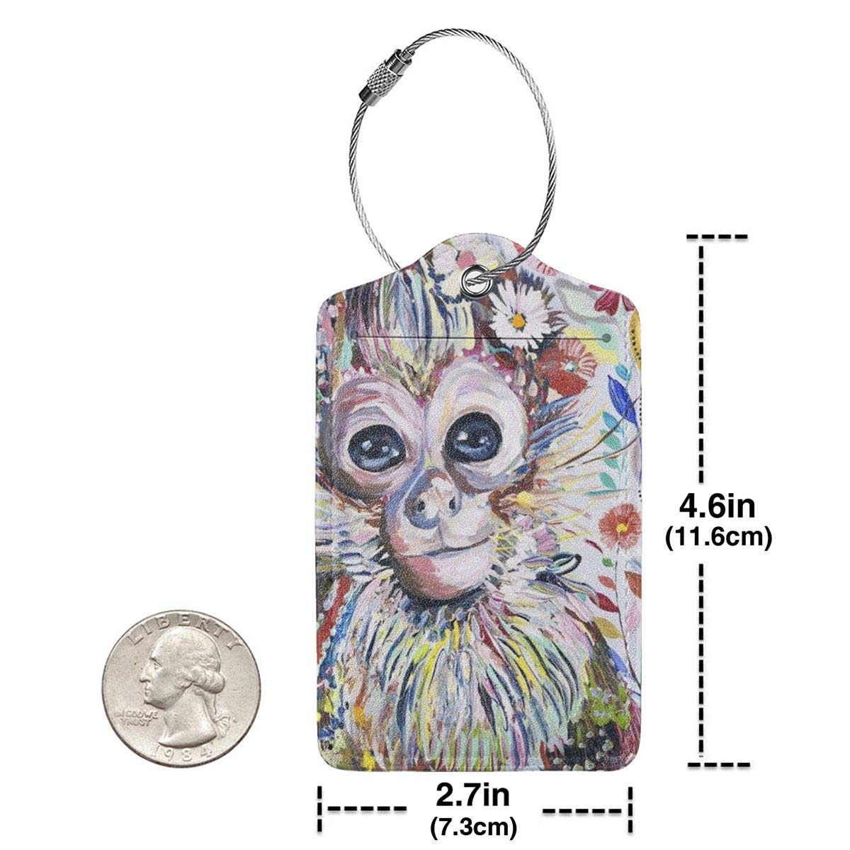 Colorful Animal Monkey Luggage Tag Label Travel Bag Label With Privacy Cover Luggage Tag Leather Personalized Suitcase Tag Travel Accessories