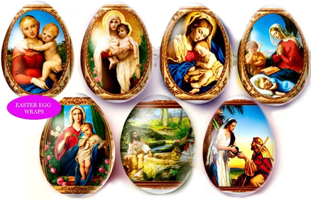 Religious Gifts Decorative Easter Shrink Wrap for Pysanky Eggs Supplies, 7 Piece