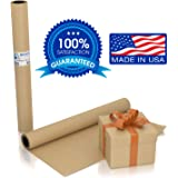"Large Brown Kraft Paper Roll - 36"" x 1200"" (100 ft) - Made in The USA - Ideal for Gift Wrapping, Packing, Moving, Postal, Shipping, Parcel, Wall Art, Crafts, Bulletin Boards, Floor Cover, Table Runner"