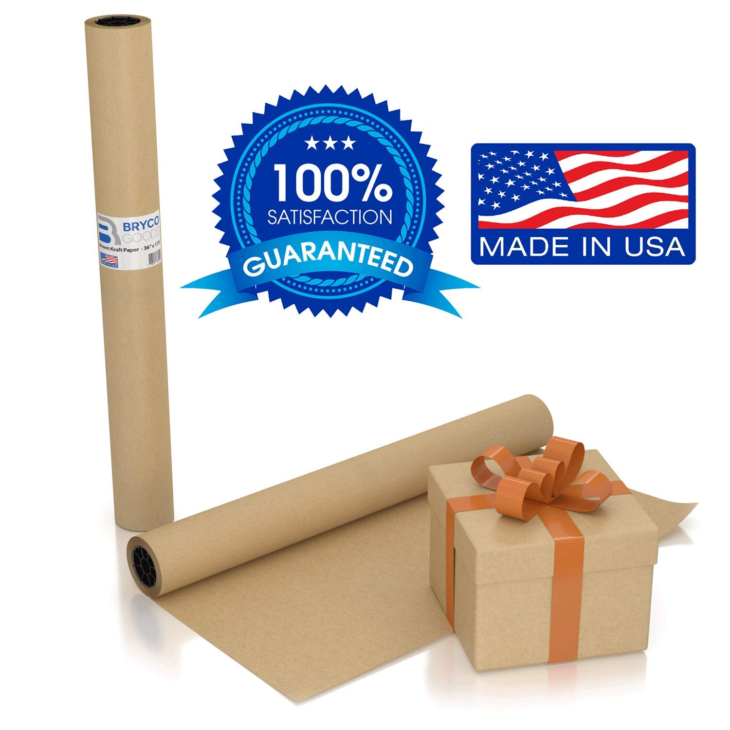Large Brown Kraft Paper Roll - 36'' x 1200'' (100 ft) - Made in The USA - Ideal for Gift Wrapping, Packing, Moving, Postal, Shipping, Parcel, Wall Art, Crafts, Bulletin Boards, Floor Cover, Table Runner by Bryco Goods