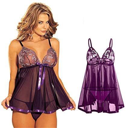 4a23c9deba3 Amazon.com: S-3XL Lace Sexy Lingerie+G-String Costume Bow Lingerie ...