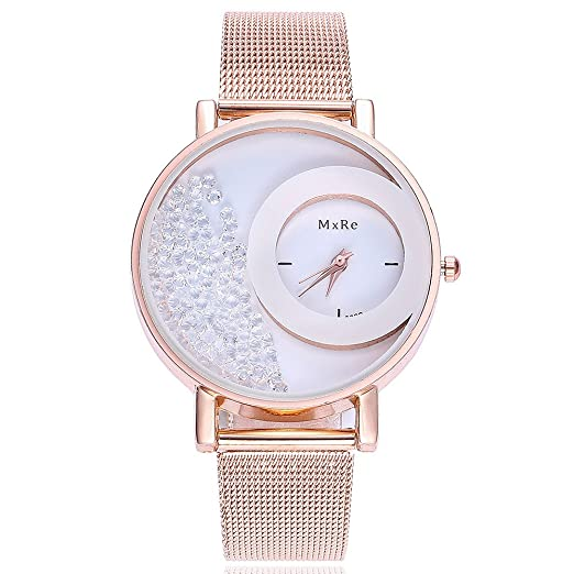 Kinlene mujer reloj,moda Piel Quicksand Rhinestone pulsera de cuarzo reloj de pulsera del analógico reloj (A): Amazon.es: Relojes