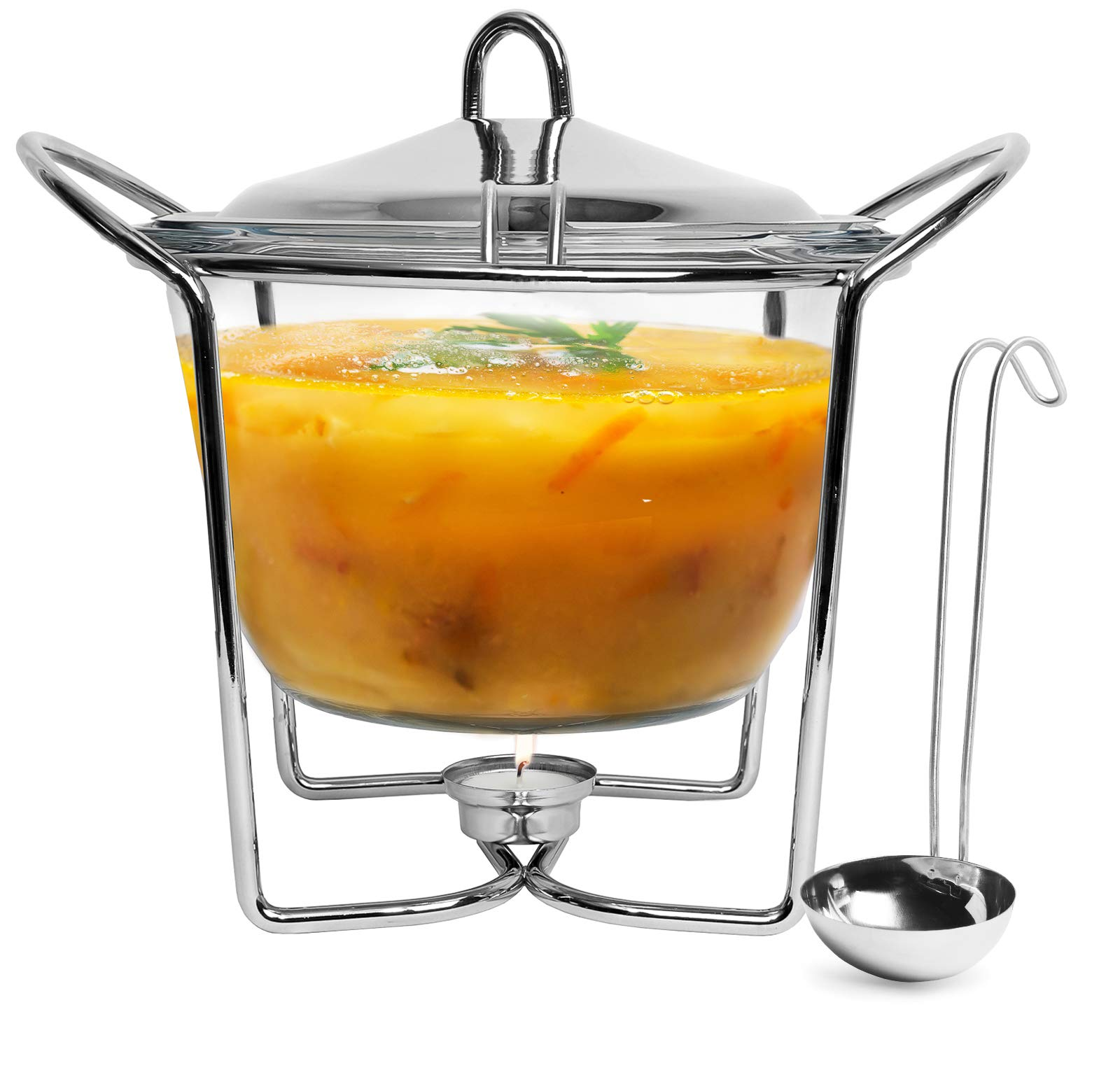 Galashield Stainless Steel with Glass Dish Buffet Server Food Warmer Chafing with Ladle (4-Quart Capacity)