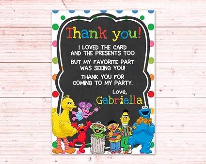 Amazon Com Olga212patrick Sesame Street Birthday Thank You Card