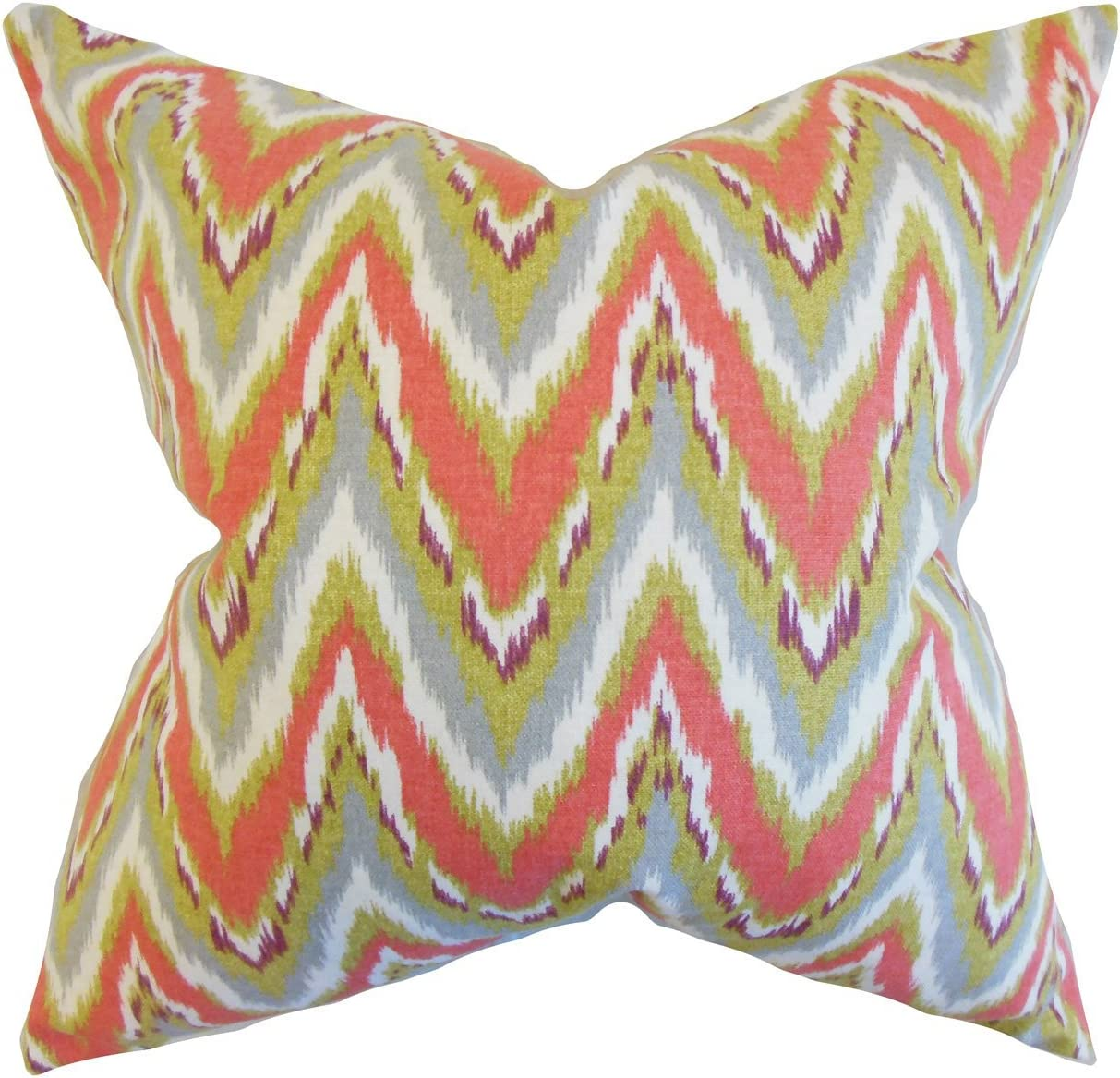 Amazon Com The Pillow Collection Matisse Zigzag Bedding Sham Coral Euro 26 X 26 Home Kitchen