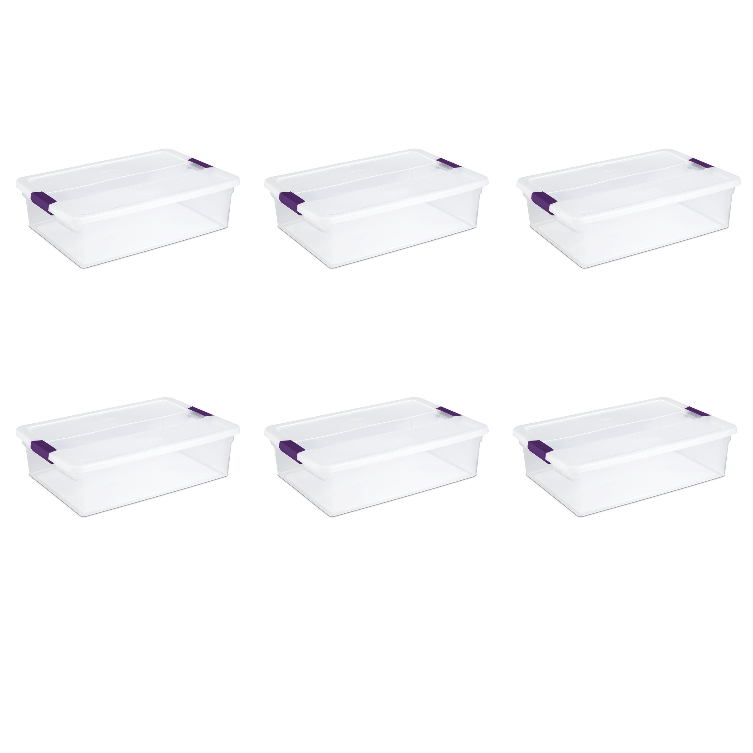 Sterilite 17551706 32 Quart/30 Liter ClearView Latch Box, Clear with Sweet Plum Latches, 6-Pack by STERILITE
