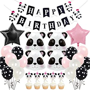 JOYMEMO Panda Birthday Party Supplies for Girls, Panda Head Foil Balloons Cake Toppers Pink Happy Birthday Banner for Baby Shower Birthday Decorations