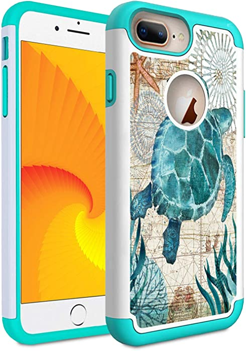 Skyfree iPhone 8 Plus Case, iPhone 7 Plus Case, Shockproof 2 in 1 Heavy Duty Hybrid Hard PC Covers Soft Rubber Bumper Protective Case for iPhone 8 Plus/iPhone 7 Plus,Baby Sea Turtle