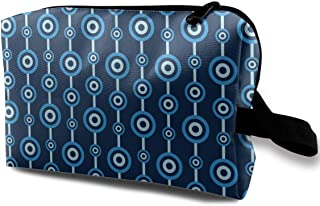 Blue Circle Pattern Small Travel Toiletry Bag Super Light Toiletry Organizer for Overnight Trip Bag