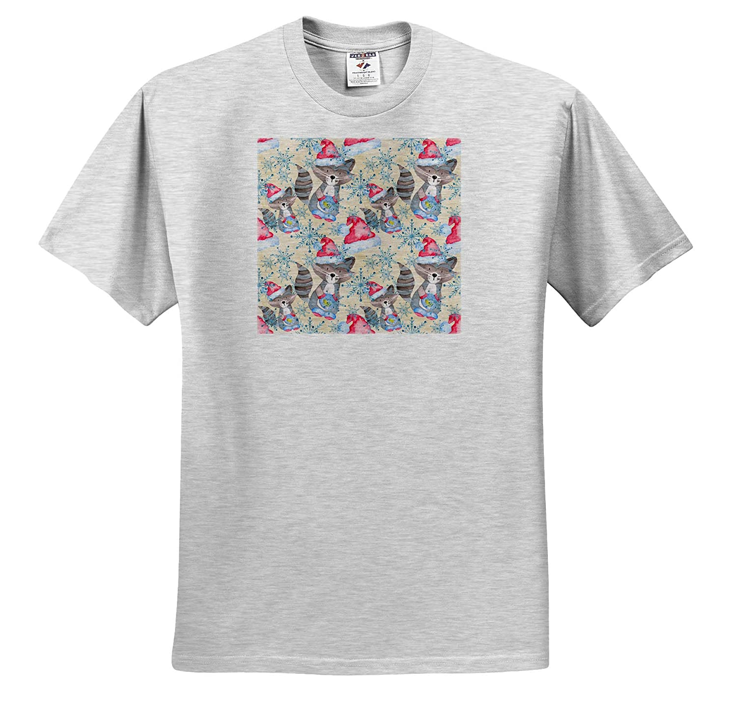 3dRose Anne Marie Baugh ts/_318539 Cute Image of Watercolor Winter Racoon Pattern Adult T-Shirt XL Christmas