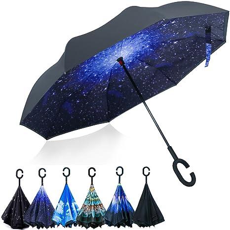 Opret Paraguas Invertido, el Mejor Paraguas Original Inverso Antiviento Grande, Paraguas Reversible de Dentro
