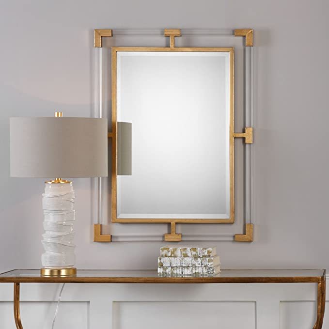 Modern Gold  Tube Wall Mirror   Minimalist Vanity Antiqued