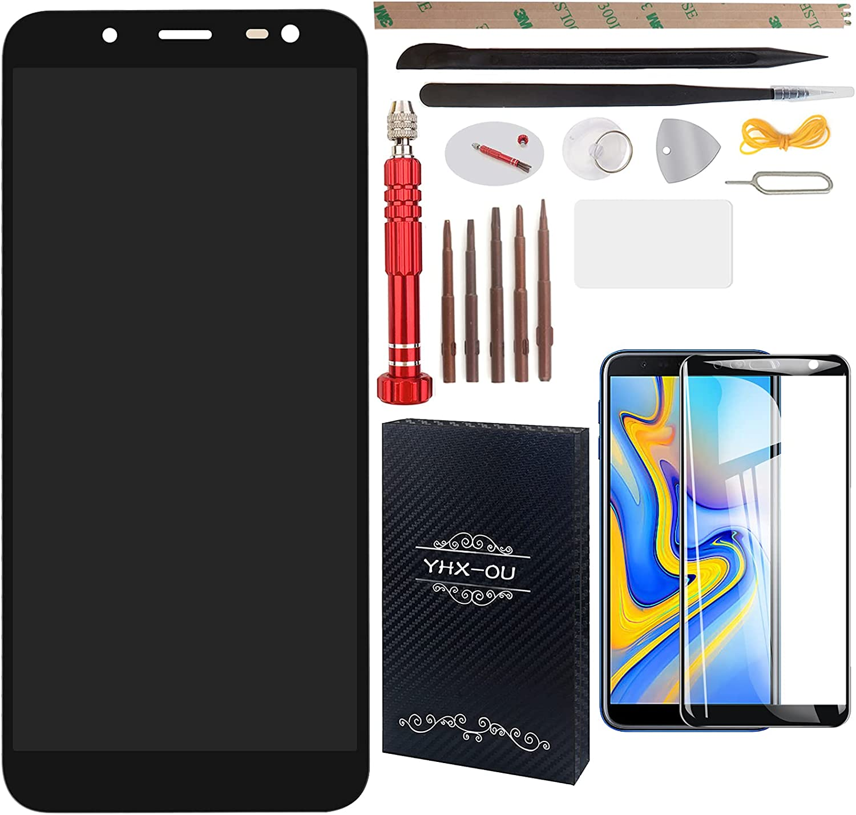 YHX-OU Pantalla táctil LCD de 5,6 pulgadas para Samsung Galaxy J6 2018 J600f J600 con herramientas + lámina protectora (negro)